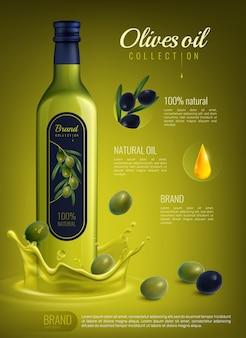 Composizione pubblicitaria realistica dell'olio d'oliva