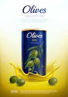 Composizione pubblicitaria realistica di olive in scatola