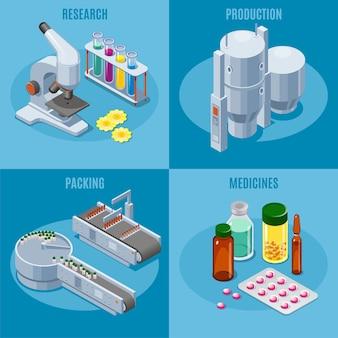 Composizione quadrata di industria farmaceutica isometrica con produzione di tubi per microscopio e attrezzature di imballaggio pillole mediche farmaci farmaci isolati