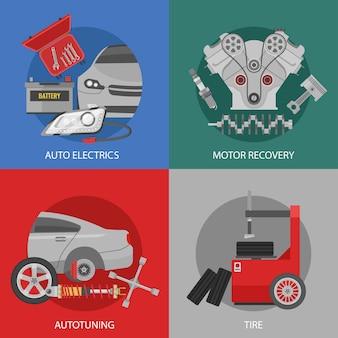 Composizione quadrata di riparazione auto professionale piatta con messa a punto di recupero motore elettrico automatico e servizi pneumatici