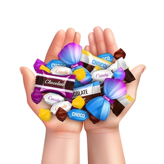 Composizione realistica con il mucchio di varie caramelle di cioccolato nell'illustrazione delle mani del bambino