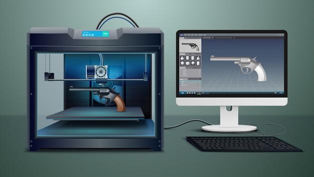 Composizione realistica con l'illustrazione di vettore di processo di stampa della pistola 3d