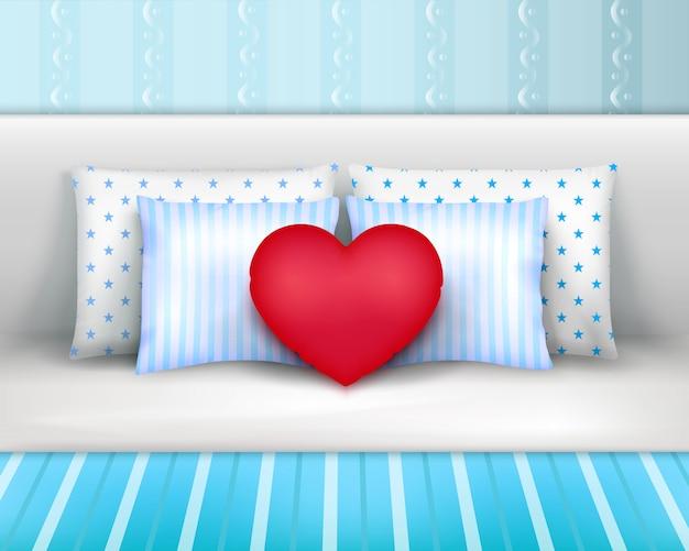 Composizione realistica dei cuscini dei cuscini di biancheria da letto
