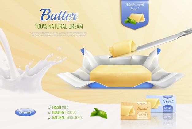 Composizione realistica del burro da latte come modello per il marchio pubblicitario con gli ingredienti naturali del prodotto sano del latte fresco del testo