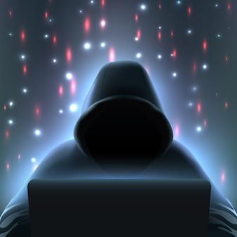Composizione realistica del computer di hacker