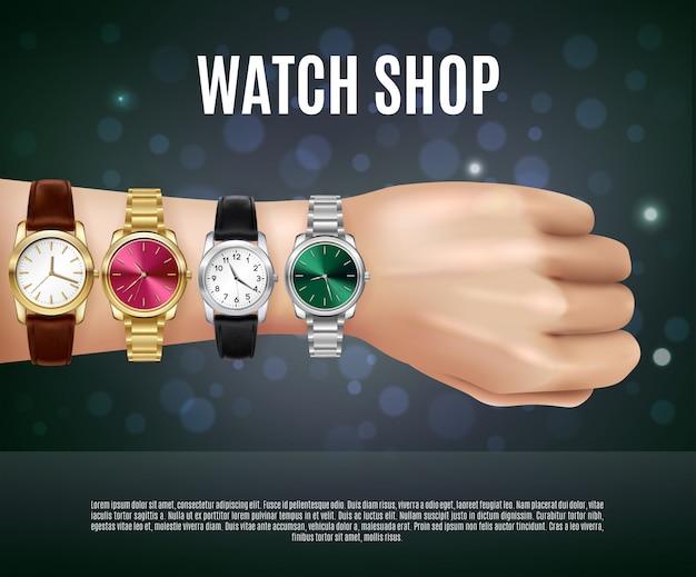 Composizione realistica di gioielli con la mano degli uomini del titolo del negozio di orologi e quattro orologi differenti