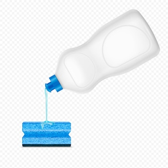 Composizione realistica in spugna detergente versando gocciolante su trasparente con bottiglia di plastica bianca di detersivo per piatti