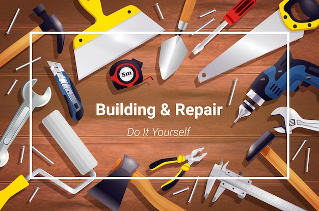 Composizione realistica nel fondo degli strumenti di carpenteria
