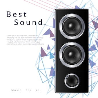 Composizione realistica nel sistema audio con il miglior titolo sonoro e grande illustrazione di altoparlanti neri