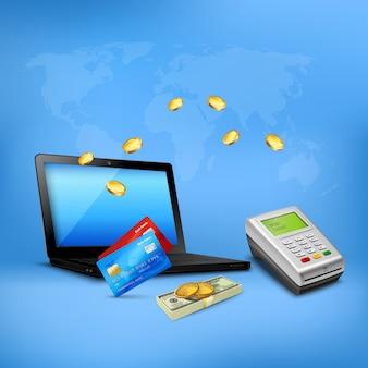 Composizione realistica nel trasferimento di denaro con il computer portatile e i contanti del terminale di pagamento con carta di credito sul blu