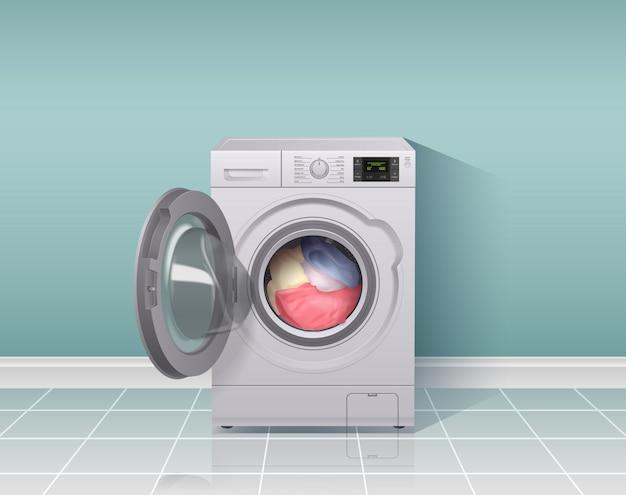 Composizione realistica nella lavatrice con l'illustrazione di simboli dell'attrezzatura di lavori domestici