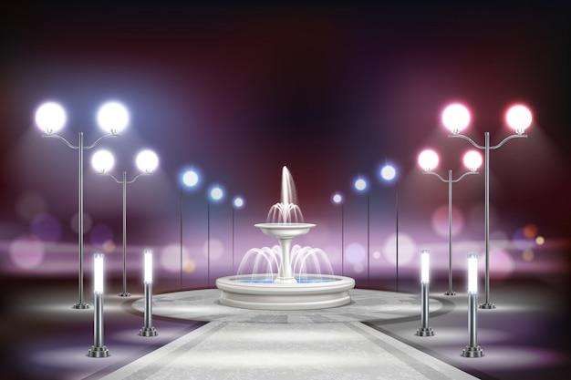 Composizione realistica nelle luci di via con il quadrato con una grande fontana bianca all'illustrazione della via