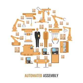 Composizione rotonda colorata assemblea automatizzata con l'insieme giallo isolato dell'icona e l'illustrazione di vettore dell'assemblea automatizzata titolo