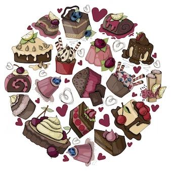 Composizione rotonda con cibi dolci, torte, muffin