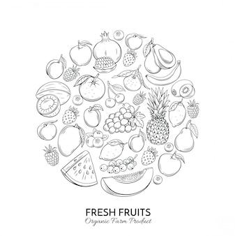 Composizione rotonda del manifesto con i frutti disegnati a mano