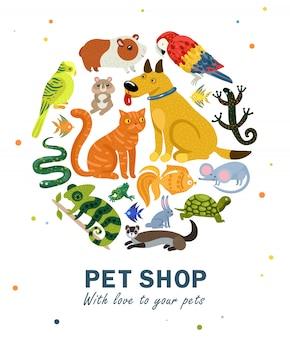 Composizione rotonda del negozio di animali