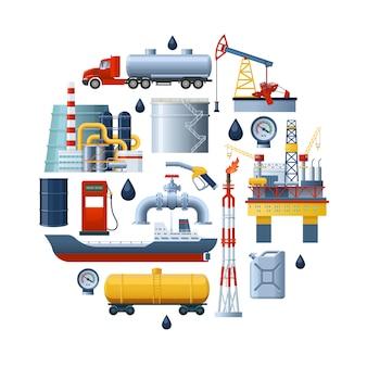 Composizione rotonda dell'industria petrolifera