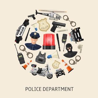 Composizione rotonda della polizia
