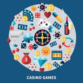 Composizione rotonda di giochi di casinò