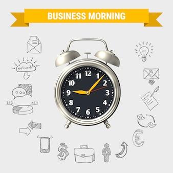 Composizione rotonda di mattina di affari