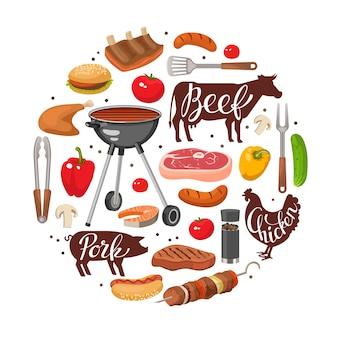 Composizione rotonda essenziale per barbecue