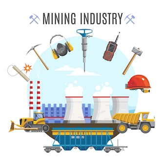 Composizione rotonda industria estrattiva