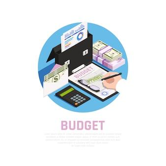 Composizione rotonda isomerica di contabilità con calcolo del bilancio sul blu