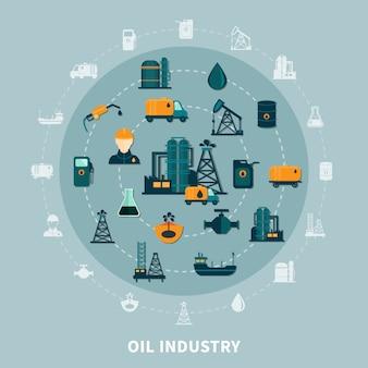 Composizione rotonda nelle icone del petrolio
