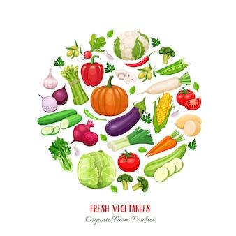 Composizione rotonda poster con verdure colorate