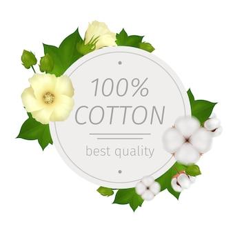 Composizione rotonda realistica di fiori di cotone con la migliore descrizione di qualità e fiori intorno