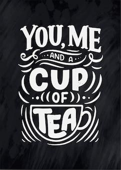 Composizione scritta con schizzo per caffetteria, bar o stampe.