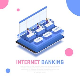 Composizione simbolica isometrica del servizio bancario online su internet con impiegati dietro l'applicazione mobile di contatori di depositi di credito