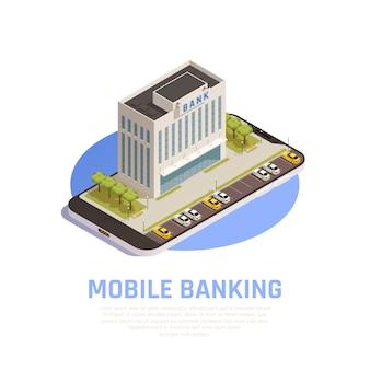 Composizione simbolica isometrica di servizi bancari online di internet con l'edificio della sede finanziaria sullo schermo mobile