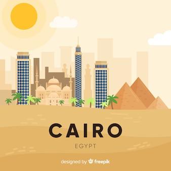Composizione skyline del cairo con design piatto