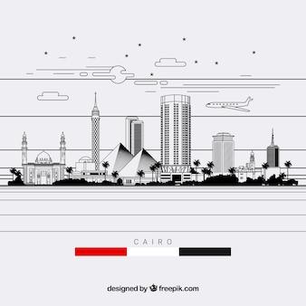 Composizione skyline del cairo con stile lineare