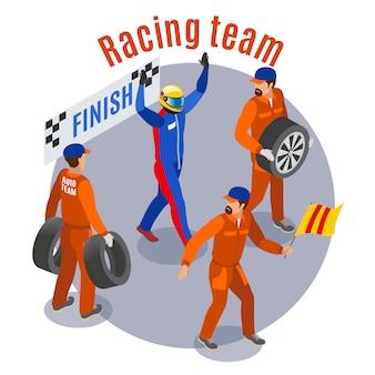 Composizione sportiva da corsa con team racinf al traguardo simboli isometrici