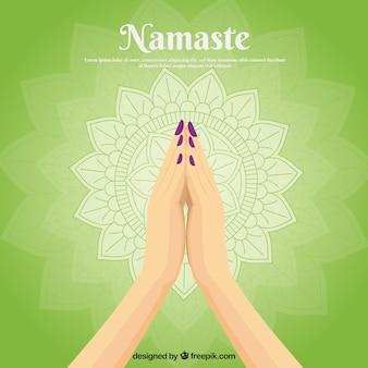 Composizione tradizionale con gesto di namaste