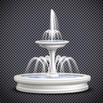 Composizione trasparente isolata realistica delle fontane