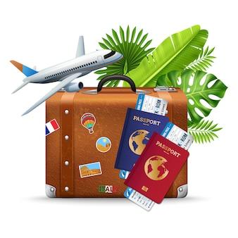 Composizione tropicale in servizio di viaggio aereo di vacanza