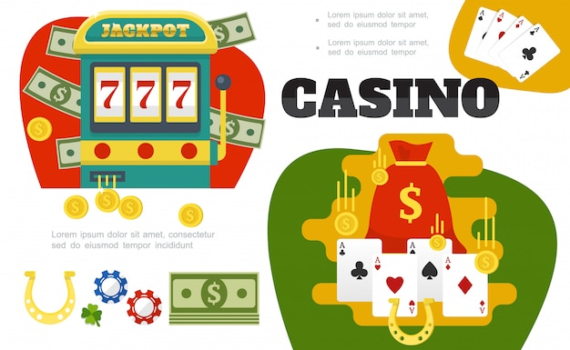 Composizione variopinta del casinò piatto con il sacchetto della slot machine della carta dei soldi si adatta alle monete d'oro trifoglio a foglia di ferro di cavallo chip di poker
