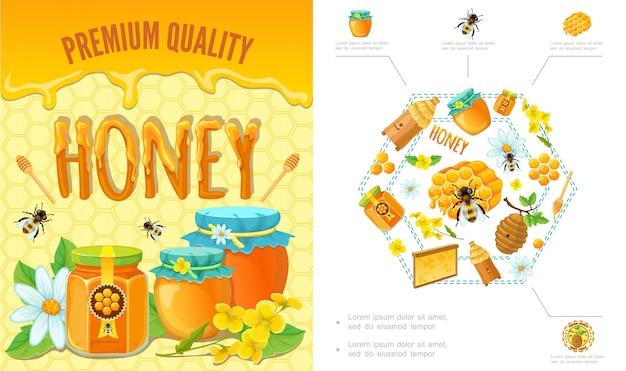 Composizione variopinta di apicoltura del fumetto con il bastone del tagliatore dell'alveare del favo delle api delle api vasi e vasi di miele fresco organico
