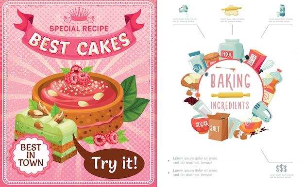 Composizione variopinta nei dolci del fumetto con le torte degli ingredienti dello strumento di cottura e pezzo della torta con i dadi di lamponi