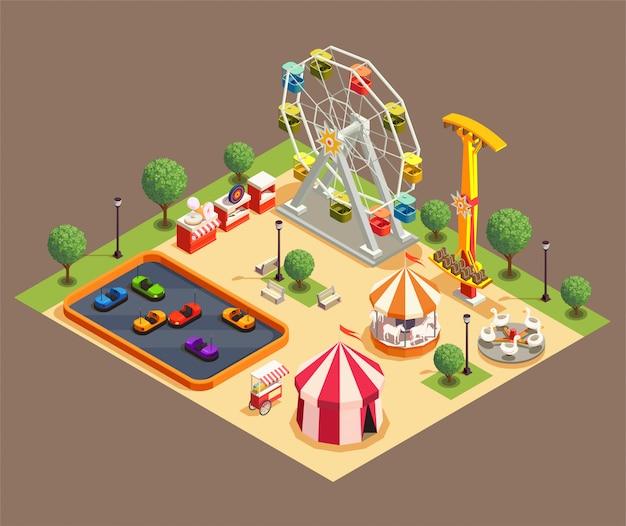 Composizione variopinta nel parco di divertimenti con il circo e le varie attrazioni 3d isometrici