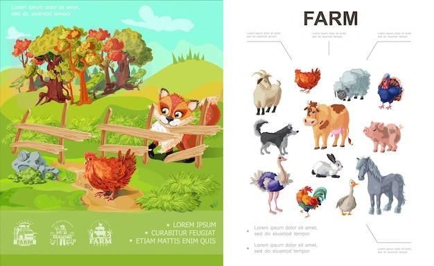 Composizione variopinta nell'azienda agricola del fumetto con differenti animali e volpe che esaminano pollo sul paesaggio della natura