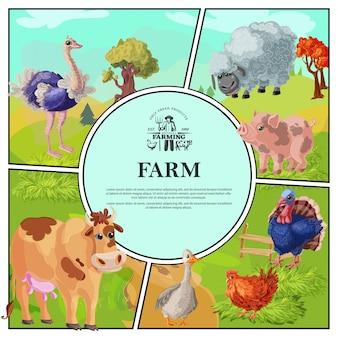 Composizione variopinta nell'azienda agricola del fumetto con il tacchino del pollo dell'oca della mucca del maiale delle pecore dello struzzo sul paesaggio della natura