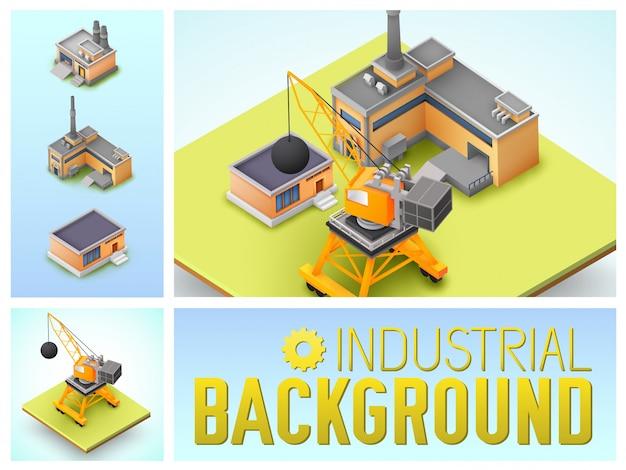 Composizione variopinta nella zona industriale isometrica con gli edifici della fabbrica e del magazzino della gru di costruzione isolati