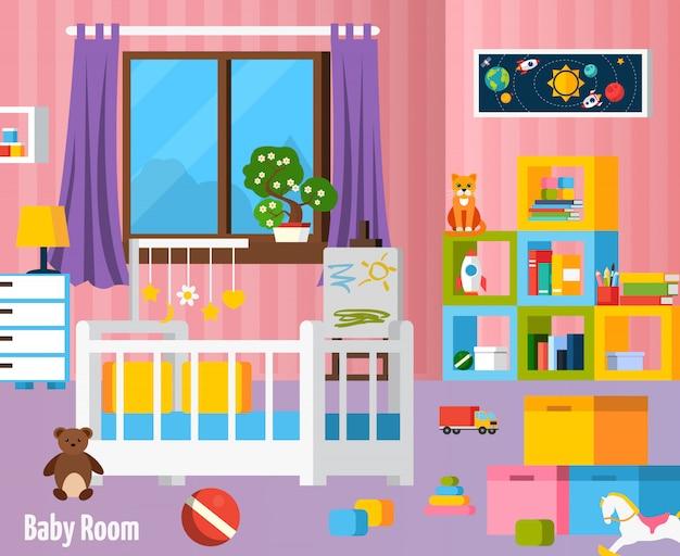Composizione variopinta piana della stanza del bambino