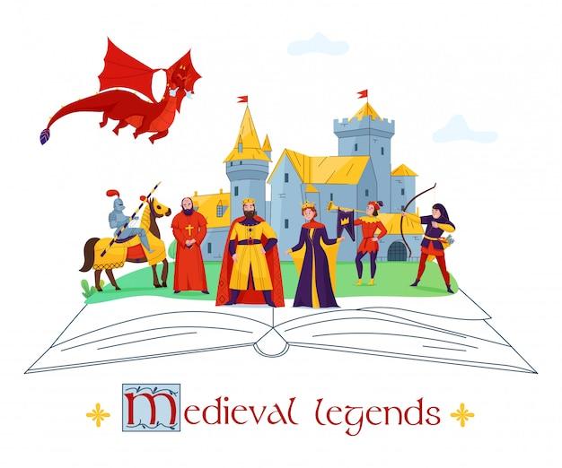 Composizione variopinta piana in concetto di racconti medievali di storie di leggende con i caratteri del regno del castello sull'illustrazione di vettore del libro aperto
