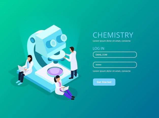Composizione web isometrica di sviluppo di vaccini con account utente e scienziati durante il lavoro verde