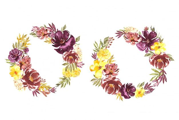 Composizioni acquerellate e ghirlanda floreale